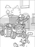 Travis and Bob The Builder coloring page for marker colouring.