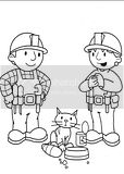 Bob The Builder feeds a stray cat in this coloring page pic.