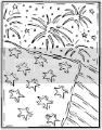Coloring pages of fireworks blowing up behind the American flag.