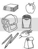 Coloring Sheets of school supplies like backpacks, pencils, crayons, books, paper, etc.