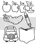 Coloring sheets of school supplies such as a pencil, book, and The Hungry Caterpillar.