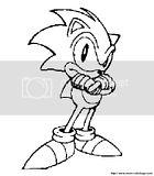 Sonic coloring page of him folding his arms in his classic pose.