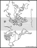 Free world map coloring pages for teachers and students to print and use.