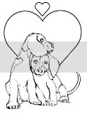Two young puppy love coloring pages of dogs cuddling.