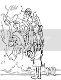 Robots appear to humans in these Transformers coloring sheets.